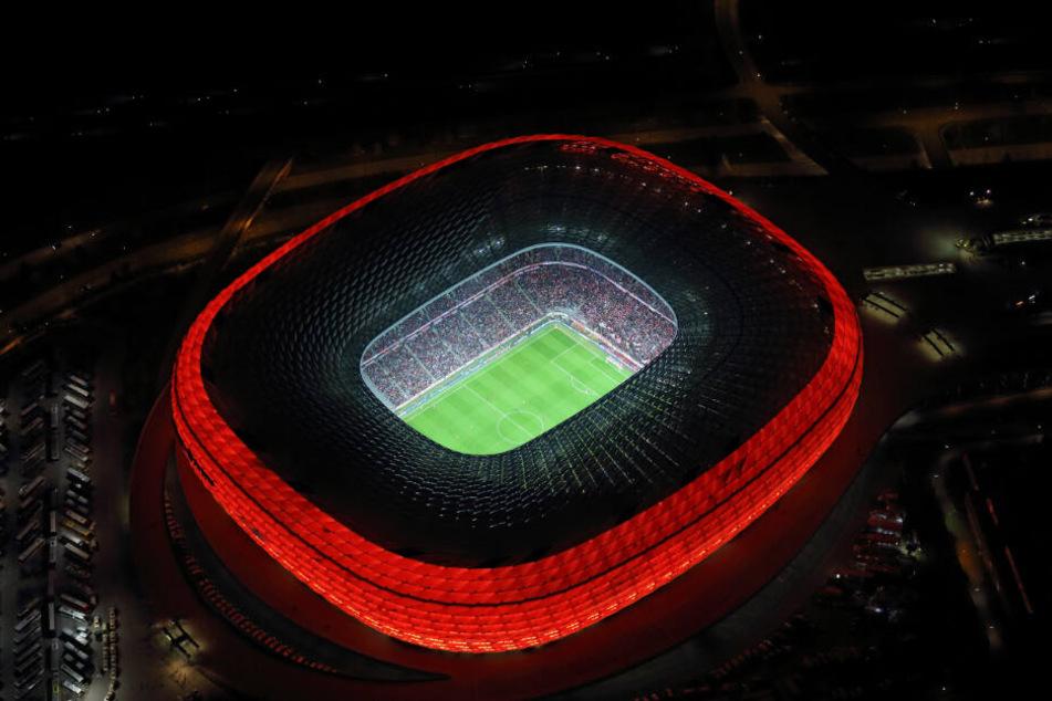 Die Allianz-Arena München aus der Vogelperspektive.