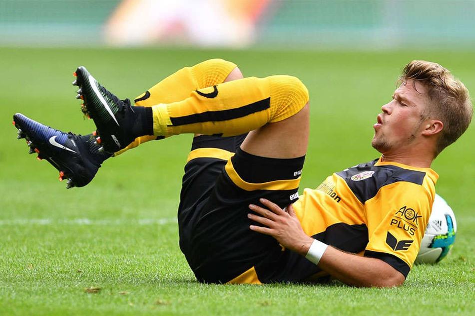 Einmal kurz durchschnaufen: Dynamos Patrick Möschl konnte sich nur kurz über seinen vermeintlichen Treffer freuen.