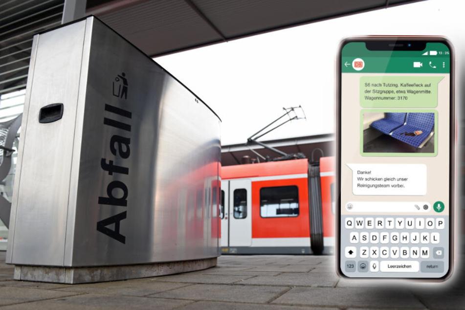 Wenn Müll nicht im Abfalleimer sonder in der S-Bahn entsorgt wurde, kann man das per WhatsApp an ein Reinigungsteam melden. (Bildmontage)