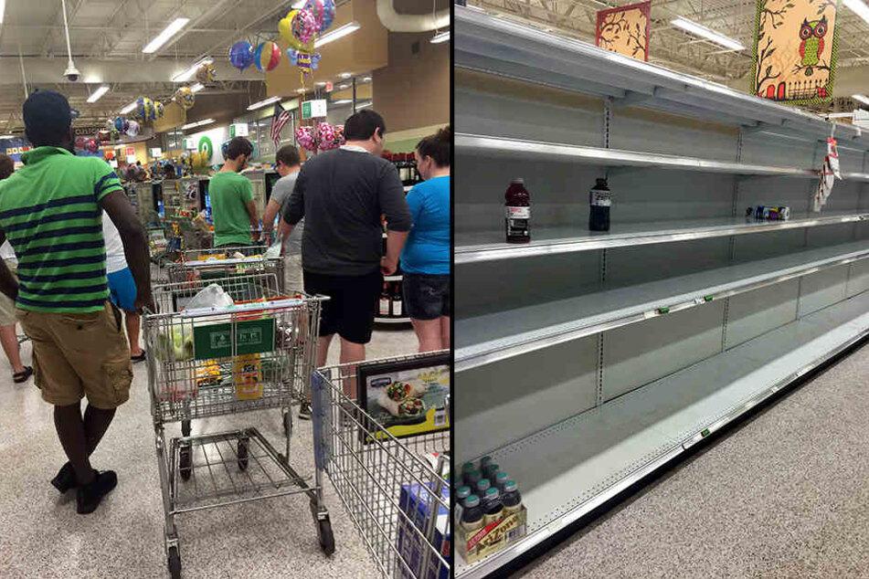 Anwohner decken sich mit dem Nötigsten ein. Die Geschäfte sind wie leer geräumt.