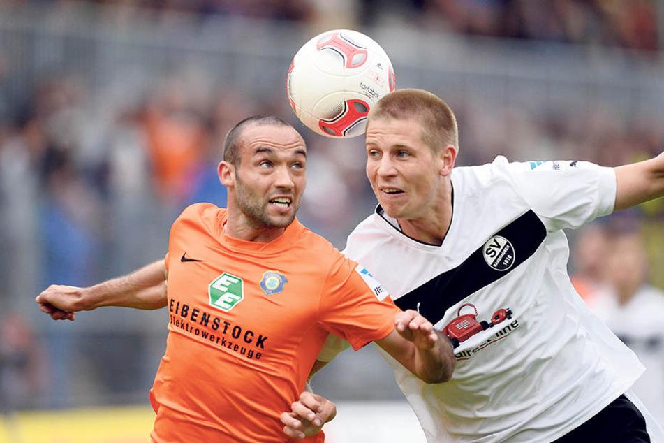 Fabian Müller (l.) gewann 2013 mit Aue 1:0 in Sandhausen, sichert damit den  Klassenerhalt. Dynamo musste daraufhin in die Abstiegsrelegation.
