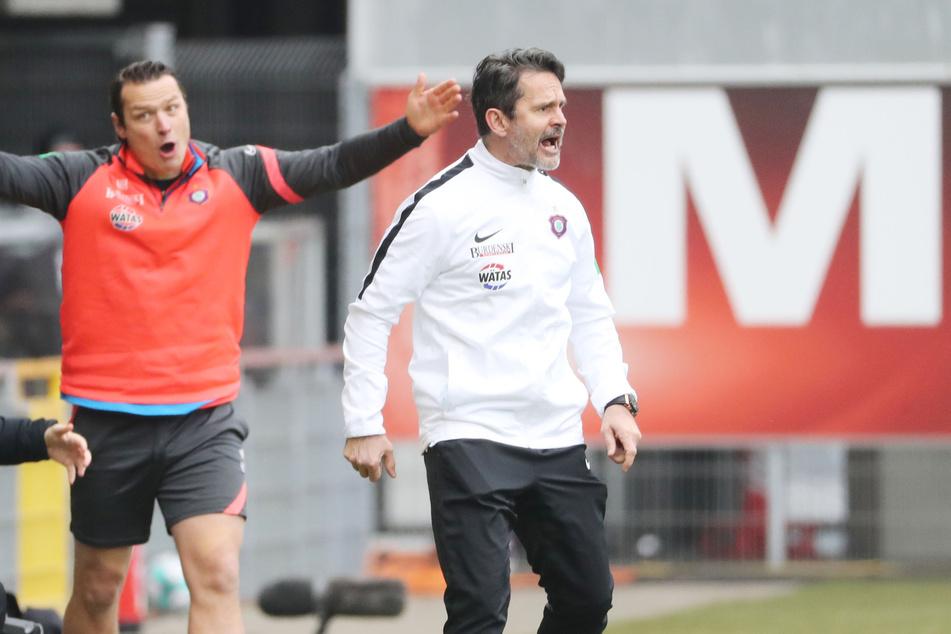 Schimpfte wie ein Rohrspatz: Aue-Coach Dirk Schuster während des Düsseldorf-Spiels.