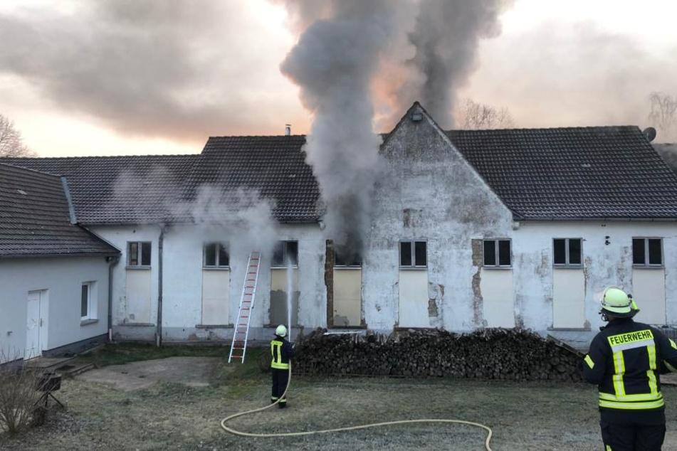 In der ersten Etage der Lagerhalle brach das Feuer aus.