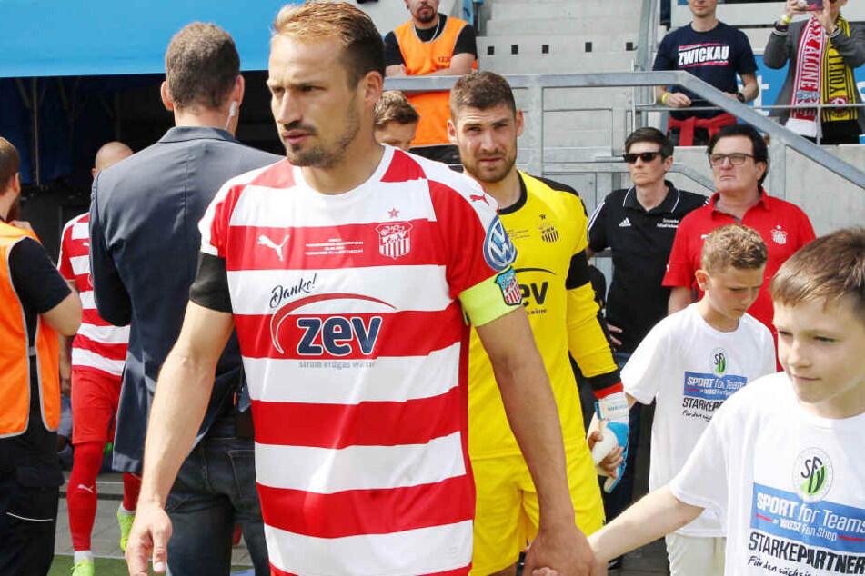 Toni Wachsmuth lief zum letzten Mal als Kapitän des FSV Zwickau auf.