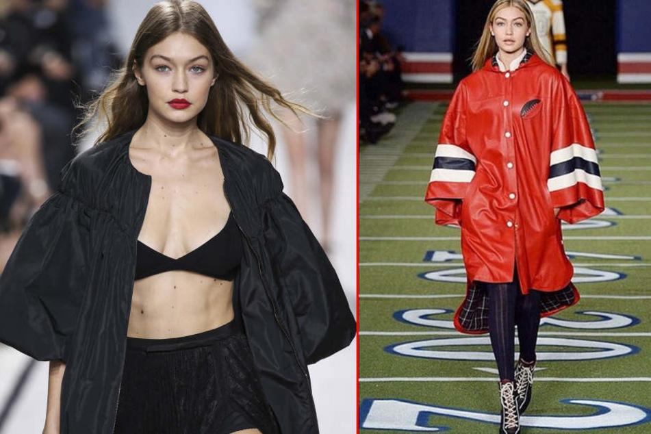 Krass! Weil Supermodel Gigi Hadid angeblich zu dick für die Hilfiger-Show war, wurde sie kurzerhand in ein Regencape gesteckt.
