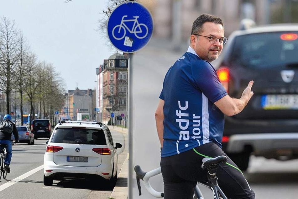 Chemnitzer Radler protestieren: Unsere Radwege sind keine Parkplätze!