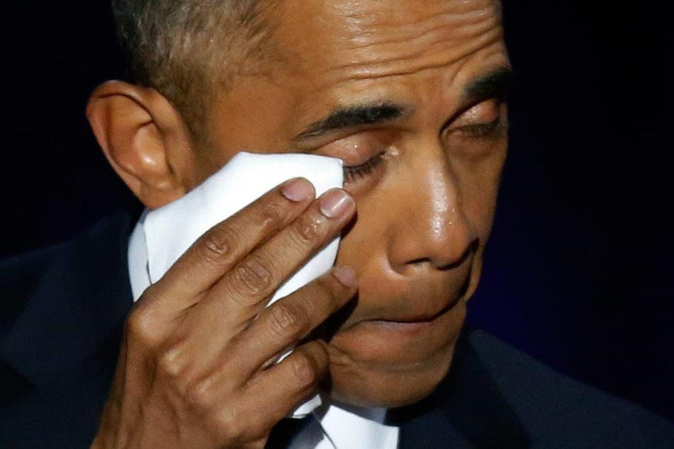Barack Obama konnte ein paar Tränen nicht unterdrücken.