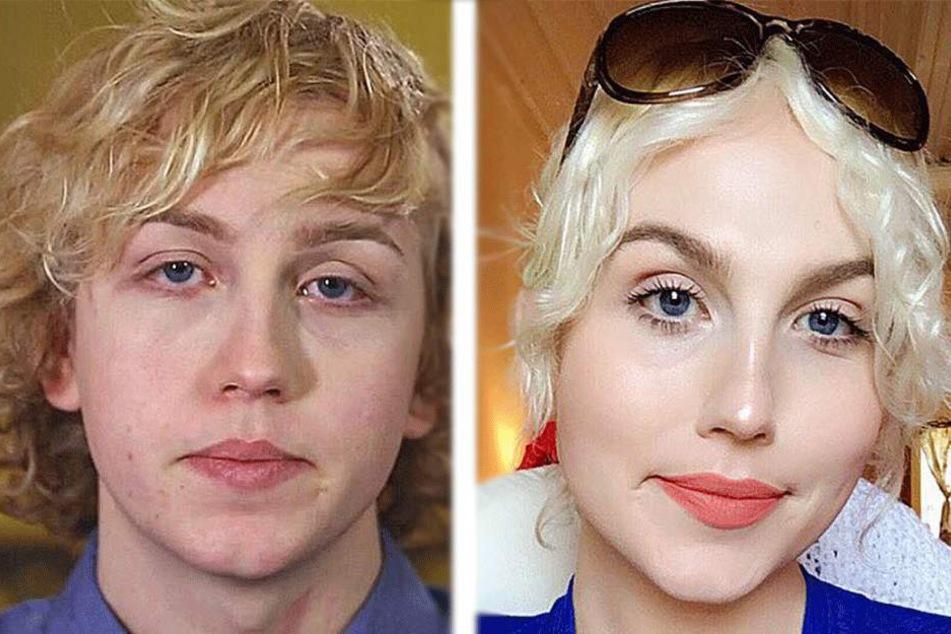 Vorher und Nachher: Von Aaron Anderson zu Erin Anderson.