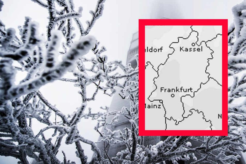 Für Samstag sagt der Dienst Wetteronline.de (Grafik) für ganz Hessen ein hohes Schneefallrisiko voraus.