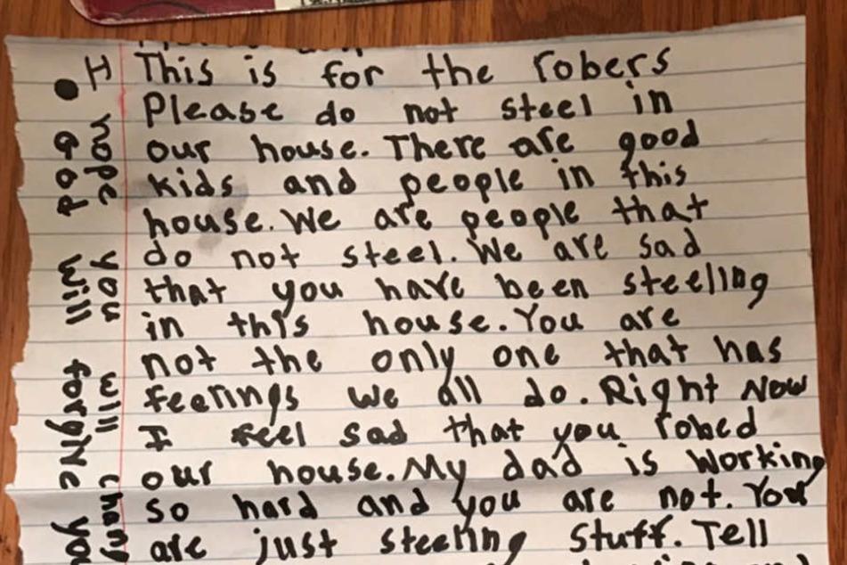 Die kleine Wendy (8) aus Florida hat einen Brief an die Gangster geschrieben, die zuvor in das Haus ihrer Familie eingebrochen waren.