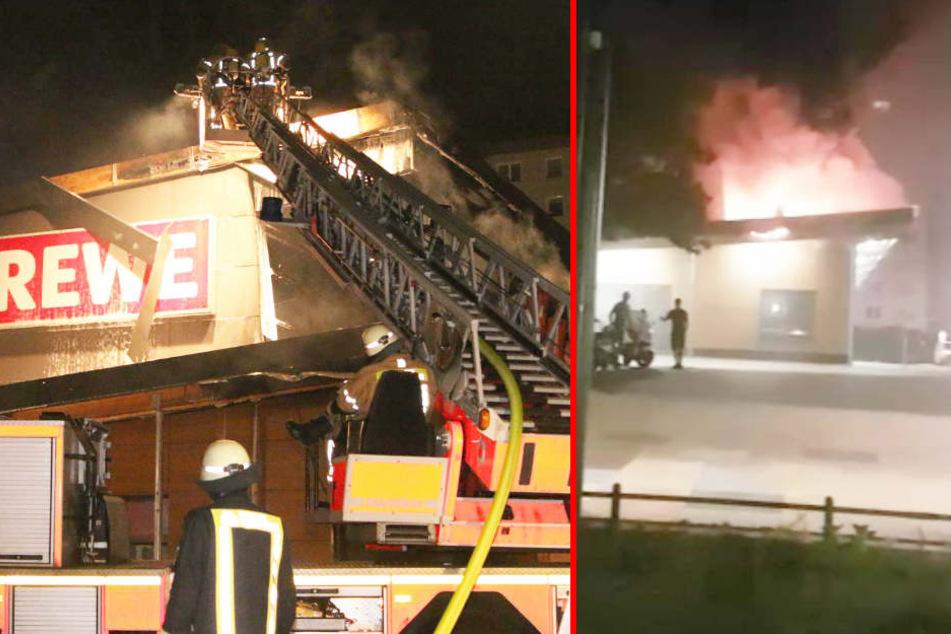 Großeinsatz in Lichtenberg: Supermarkt steht in Flammen