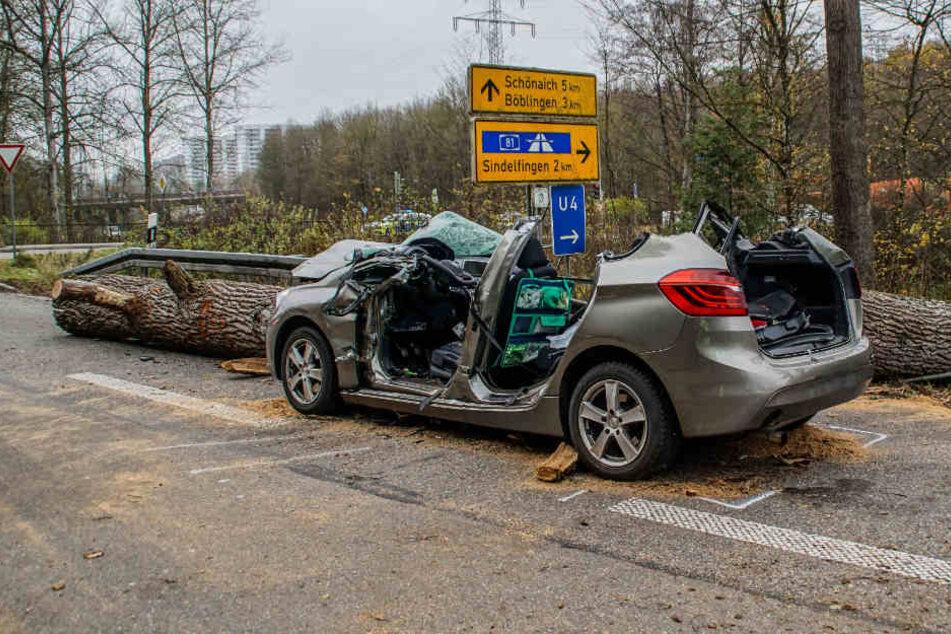 Sindelfingen: Tödlicher Verkehrsunfall - Baum stürzt auf Auto