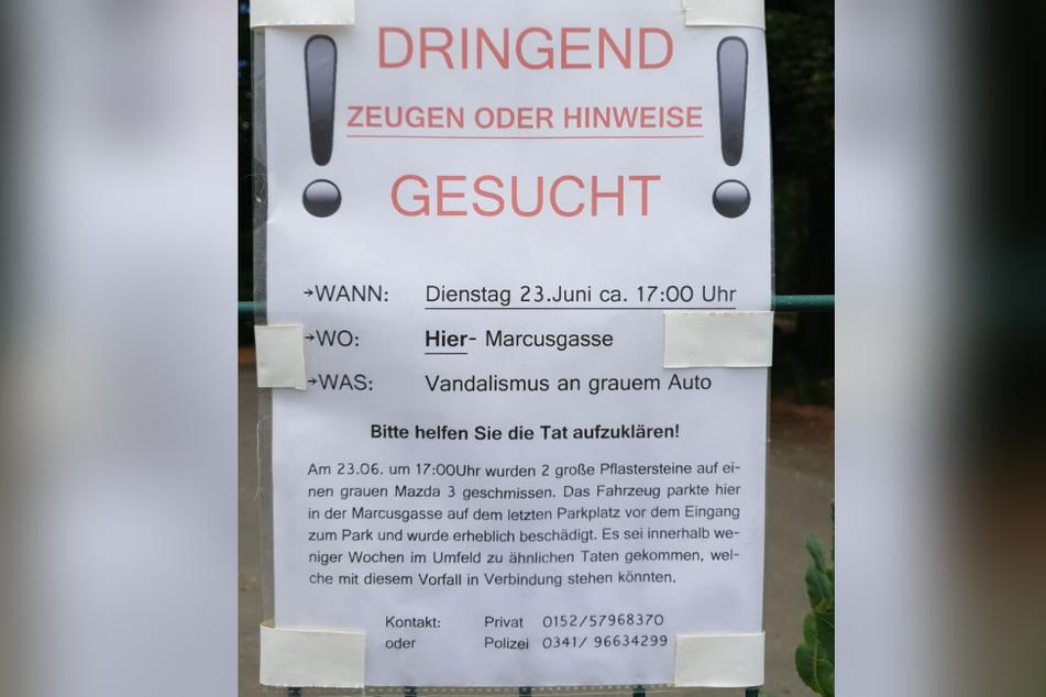 Schon Ende Juni vandalierte ein Unbekannter durch Reudnitz.