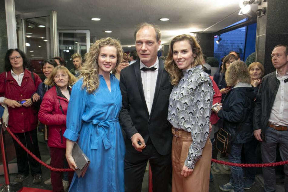 Cornelia Gröschel, Martin Brambach und Karin Hanczewski vor dem Preview im Rundkino.