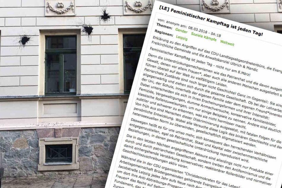 Die Fassade einer Anwaltskanzlei in der Jacobstraße wurde in der Nacht zum Donnerstag mit schwarzer Farbe beworfen.