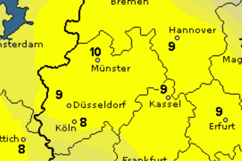 Die gelben Bereiche auf der Farbkarte kriegen besonders viel Licht am Wochenende ab.