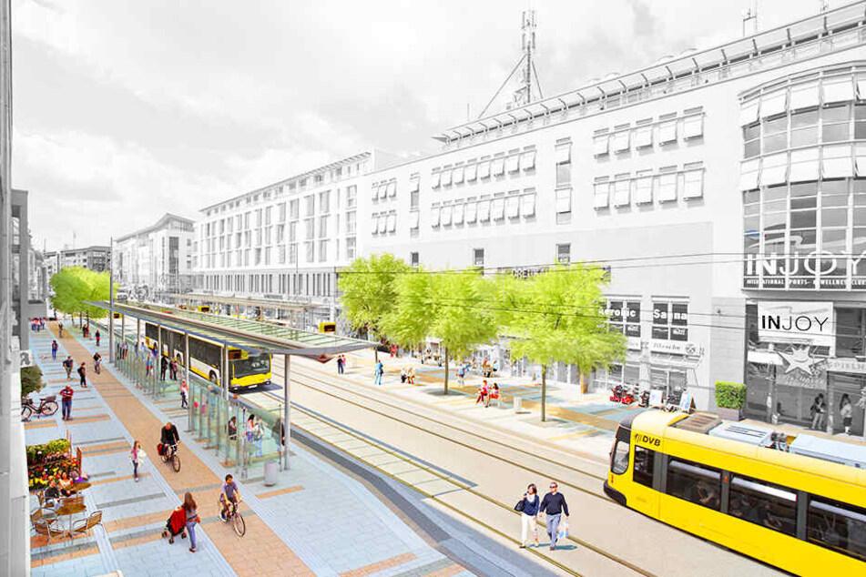 So soll die neue Haltestelle samt Boulevard ab Herbst aussehen.