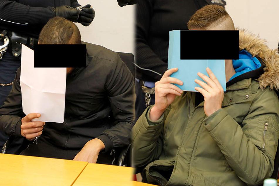 Die beiden Angeklagten am Montag vor dem Landgericht in Chemnitz.