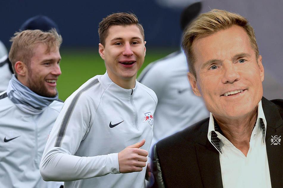 """""""Poptitan"""" Dieter Bohlen (63, r.) sagte über RB Leipzig (hier Konrad Laimer und Willi Orban): """"Ist ein geiler Fußballverein""""."""