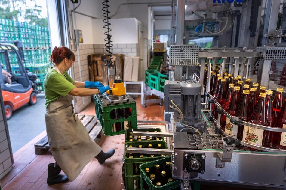 Mehr als nur Apfelsaft: Zum Fototermin mit TAG24 wurde in der Kelterei Mehlhorn gerade Erdbeersaft gepresst. Hier wird er gestapelt.