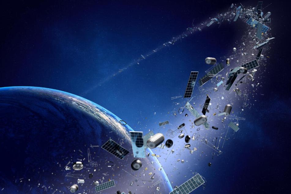 Zu viel Müll ist nicht nur ein irdisches Problem: Die Weltumlaufbahn ist voller Weltraumschrott. (Symbolbild)