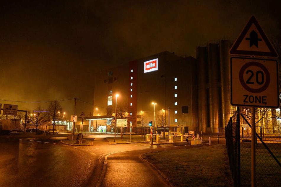 Bei Sachsenmilch in Leppersdorf kam es am Samstagabend zu einem Polizeieinsatz.