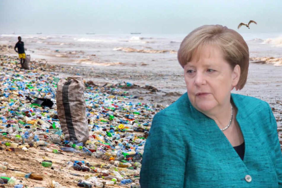 Bundeskanzlerin Angela Merkel (63, CDU) hat sich kritisch zur Plastiksteuer geäußert. (Bildmontage)