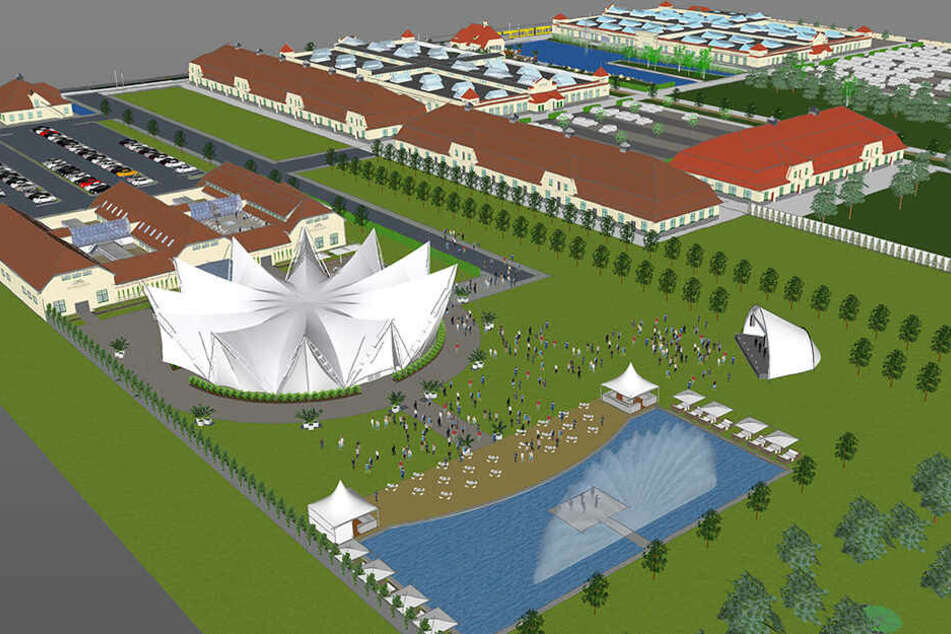 So soll das neue Event-Areal bebaut werden: Ostra-Studios (v.l.), Ostra-Dome und Open-Air-Gelände mit Wasserbecken.