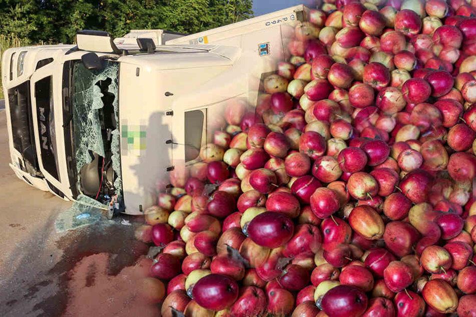 Der Lkw verlor Dutzende Äpfel. (Symbolbild)