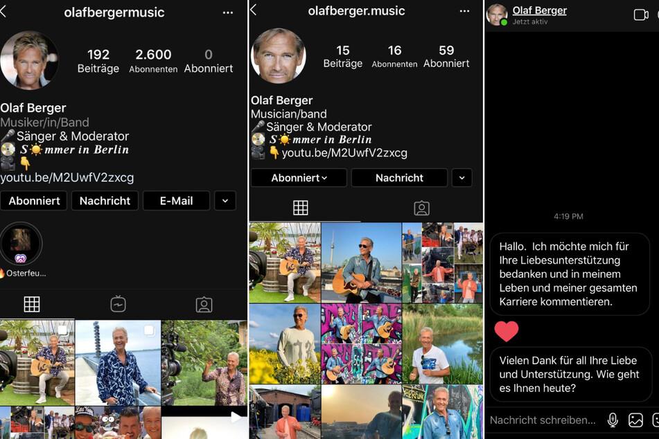 Links das offizielle Instagram-Profil des Sängers, rechts der Fake-Account - unten die Nachrichten, die der Unbekannte an Fans verschickt.