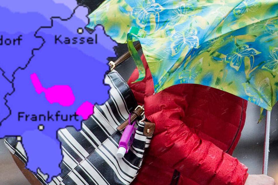 Wetteronline.de (Grafik) sagt für ganz Hessen starke Regenfälle voraus.