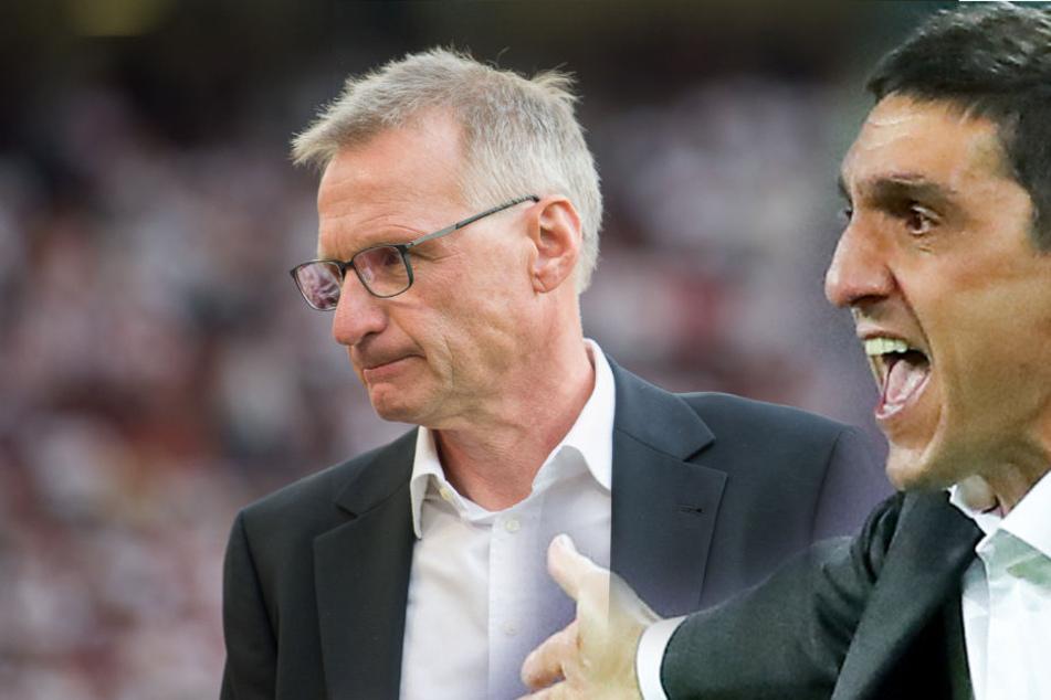 VfB-Sportvorstand Michael Reschke (l.) verpflichtete Tayfun Korkut (r.) im Januar 2018 trotz dessen mageren sportlichen Bilanz bei seinen Ex-Vereinen. (Fotomontage)
