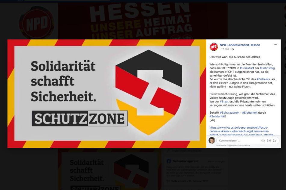 Dieser Facebook-Screenshot zeigt den Schutzzonen-Aufruf des hessischen Landesverbandes der NPD vom Dienstag.