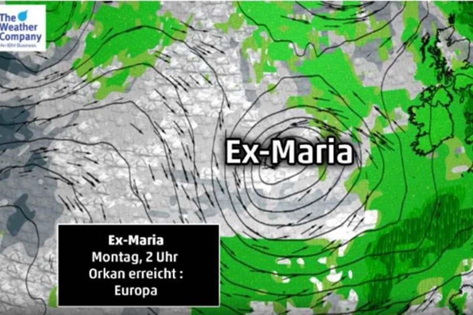 Ex-Maria kann als Orkan zu uns kommen.