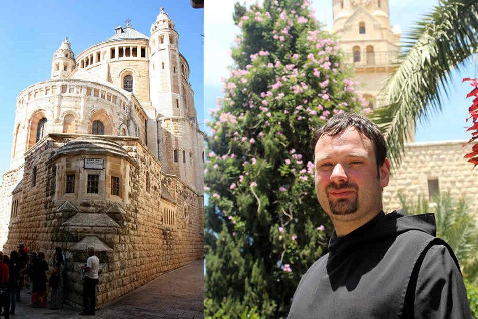 Die Dormitio-Abtei am Rande der Jerusalemer Altstadt. Der deutsche Benediktinermönch Pater Nikodemus Schnabel leitet das Kloster seit dem Sommer 2016 mit acht Mönchen.