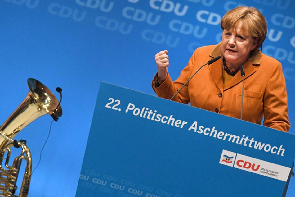 Kanzlerin Angela Merkel beim Politischen Aschermittwoch in Demmin 2017.