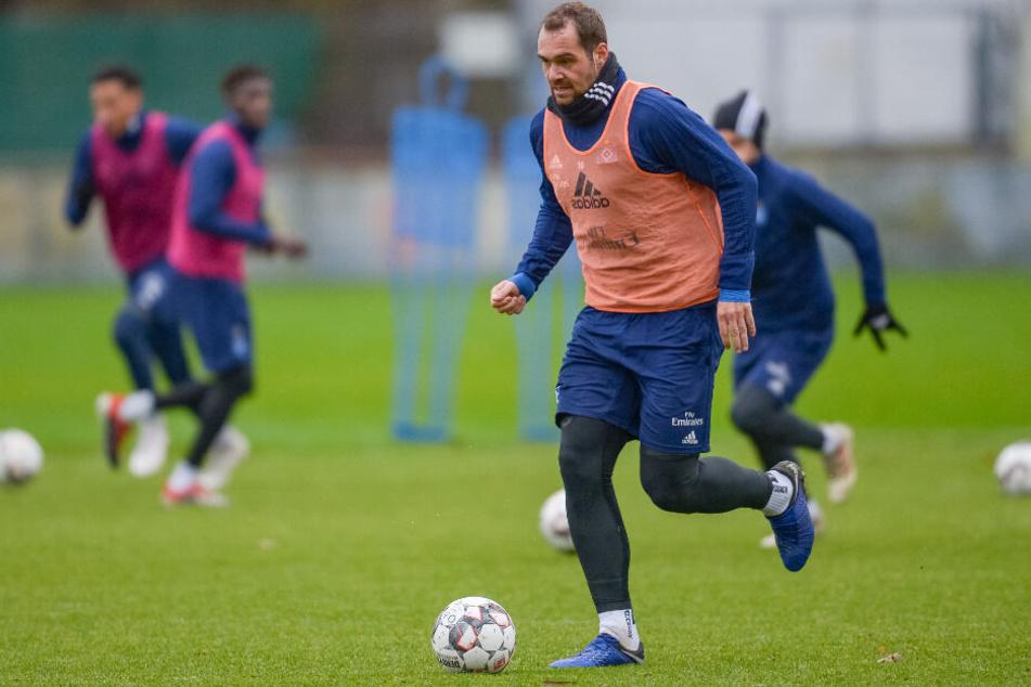 HSV-Spieler Pierre-Michel Lasogga beim Trainingsauftakt nach der Winterpause.