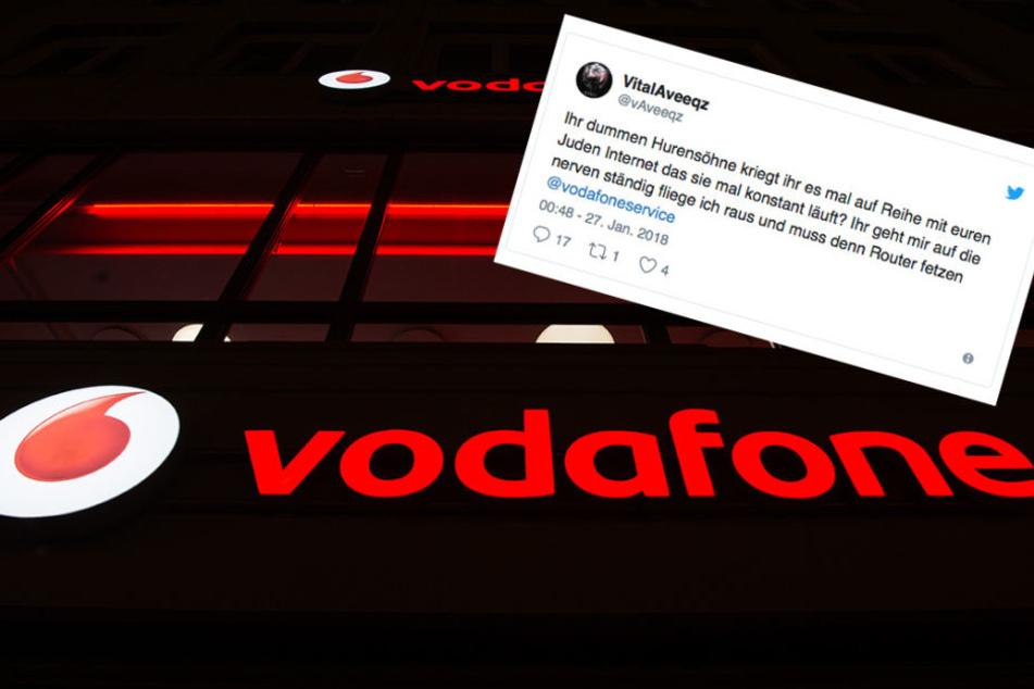 Die wüste Beleidigung gegenüber Vodafone bei Twitter.