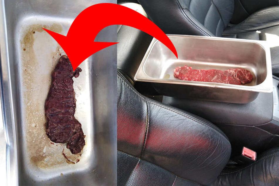 Nach fünf Stunden war das Steak durchgebraten.