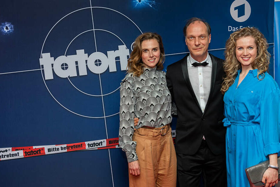 Die Schauspieler Karin Hanczewski, Martin Brambach und Cornelia Gröschel (v.l.n.r.),bei bilden das neue Dresdner-Tatort-Team.