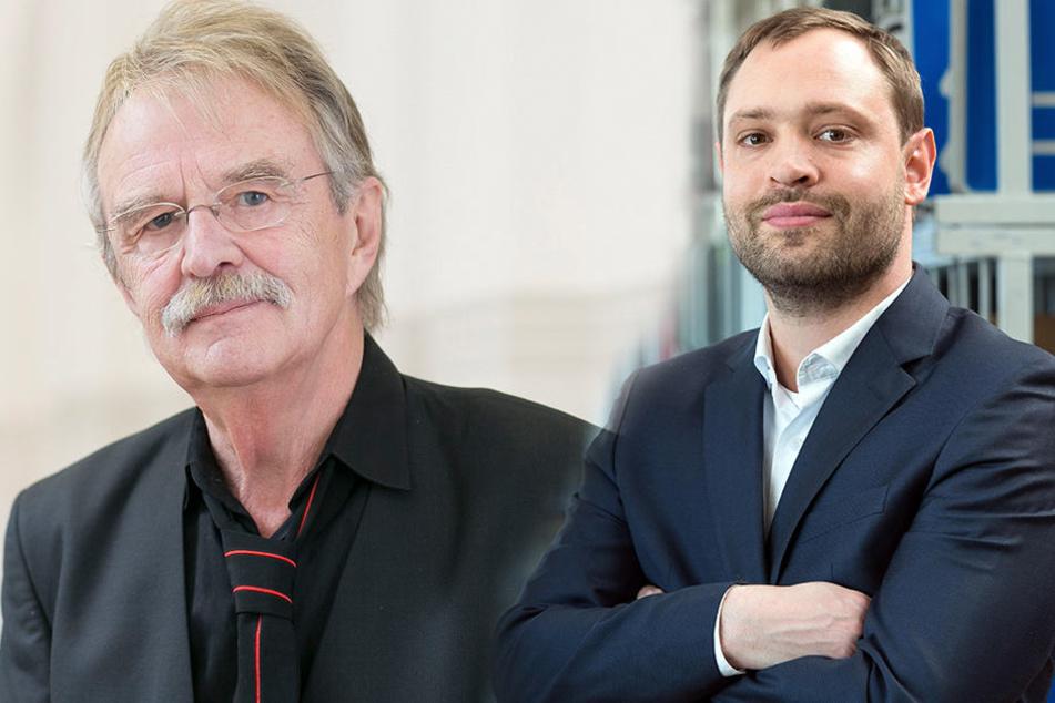 Sie fordern den Eigentümer und die Stadt zum Handeln auf: Dieter Füsslein (77, FDP, l.) und Alexander Dierks (30, CDU).