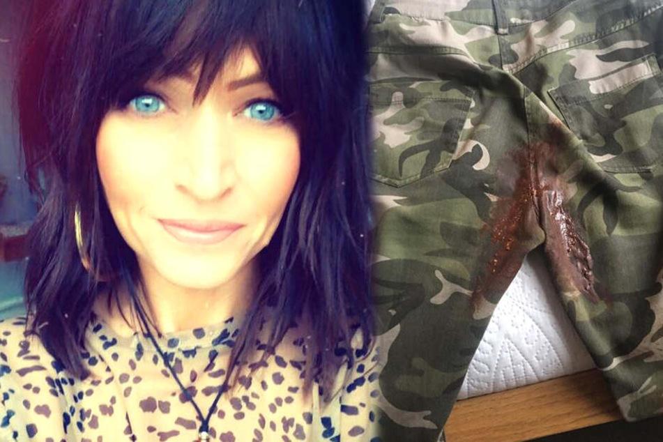 Julie Wood (37) hatte sich den Hintern mit Schokolade beschmiert.