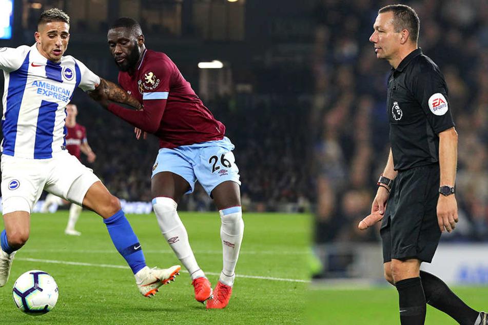 Anthony Knockaert (links) und Arthur Masuaku (Mitte) kämpfen beim Match zwischen Brighton und West Ham United um den Ball. Alle Augen sind jedoch auf Schiri Kevin Friend und seinen Dildo-Penis gerichtet.