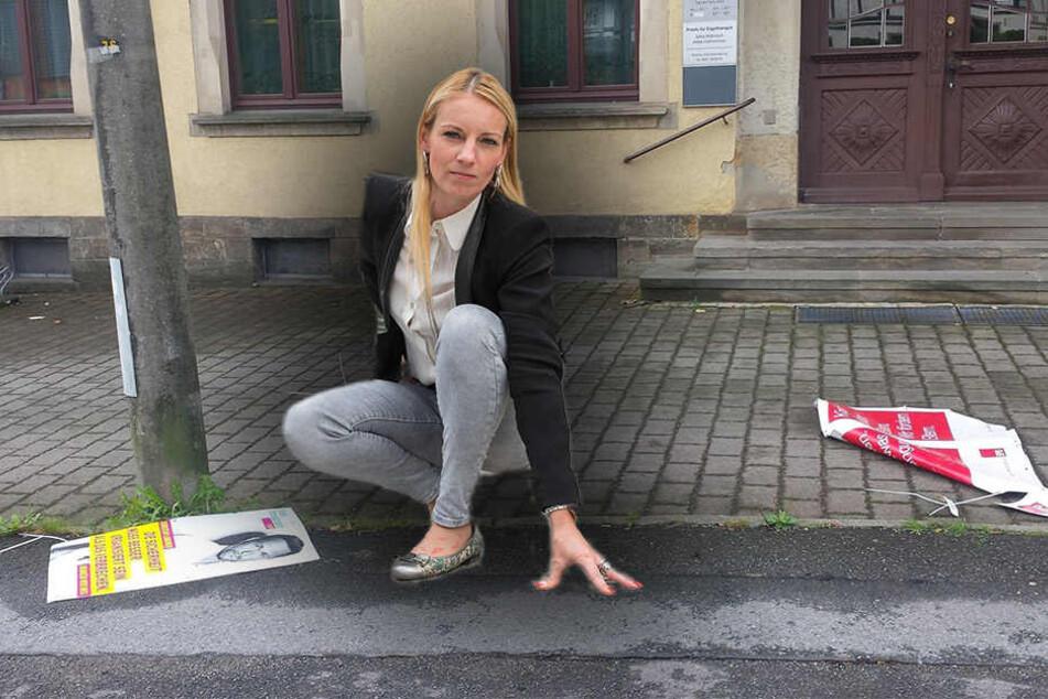 SPD-Frau Kristin Sturm wehrt sich gegen den Plakat-Vandalismus. (Bildmontage)