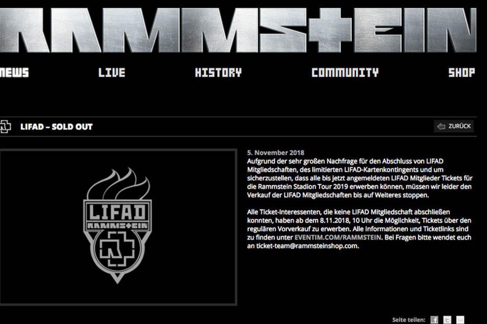 """Auf der Homepage erklärte Rammstein der Verkauf von """"LIFAD""""-Mitgliedschaften für vorerst beendet."""