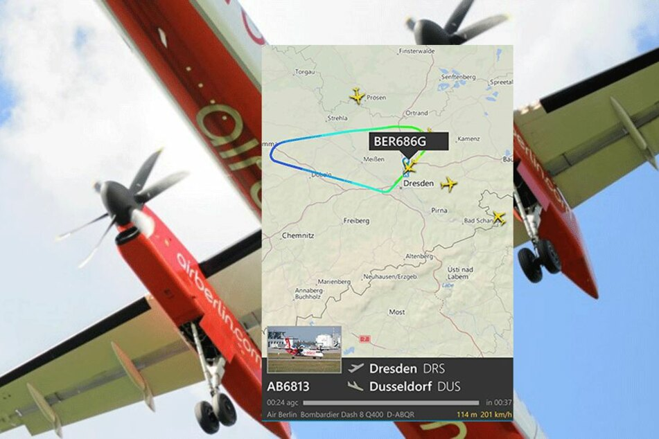 Die Grafik bei Flightradar zeigt, dass die Bombardier DGHC-8-400 bei Grimma wieder umkehrte,