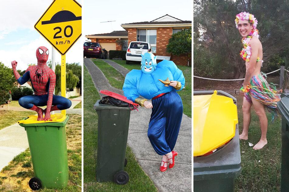 Spiderman, Gini und ein Typ verkleidet als Hawaiianerin bringen den Müll raus.