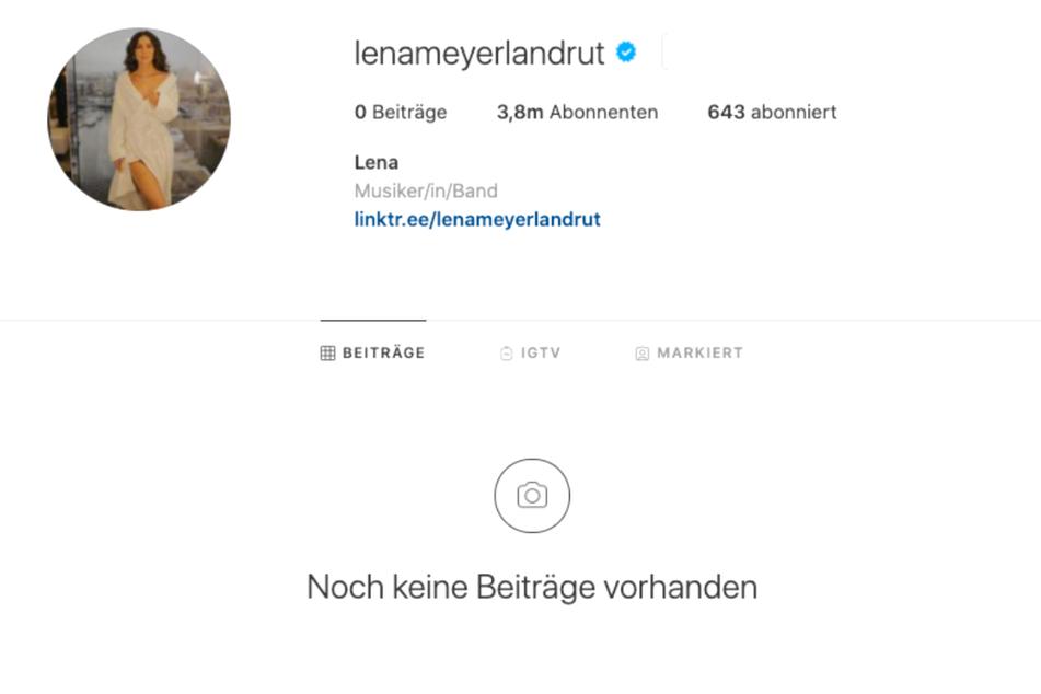 Auf Lenas Instagram-Account herrscht plötzlich gähnende Leere.