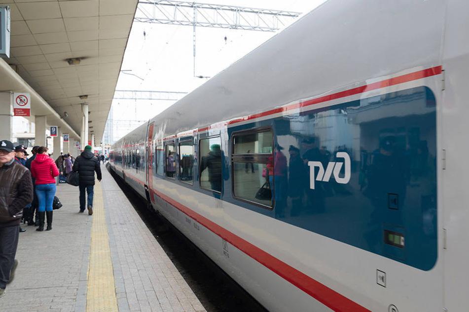 Hochgeschwindigkeitszug im Bahnhof von Moskau.