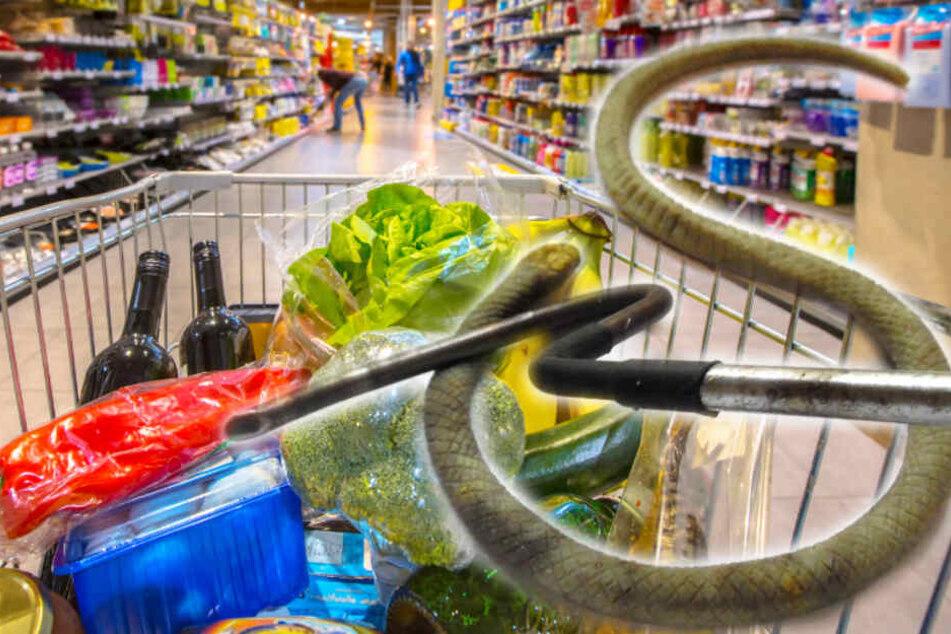 Schlange verbreitet im Supermarkt Angst und Schrecken
